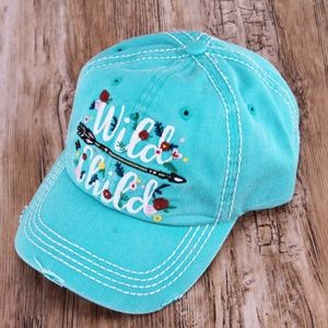 Other - Turquoise Distressed 'Wild Child' Cap